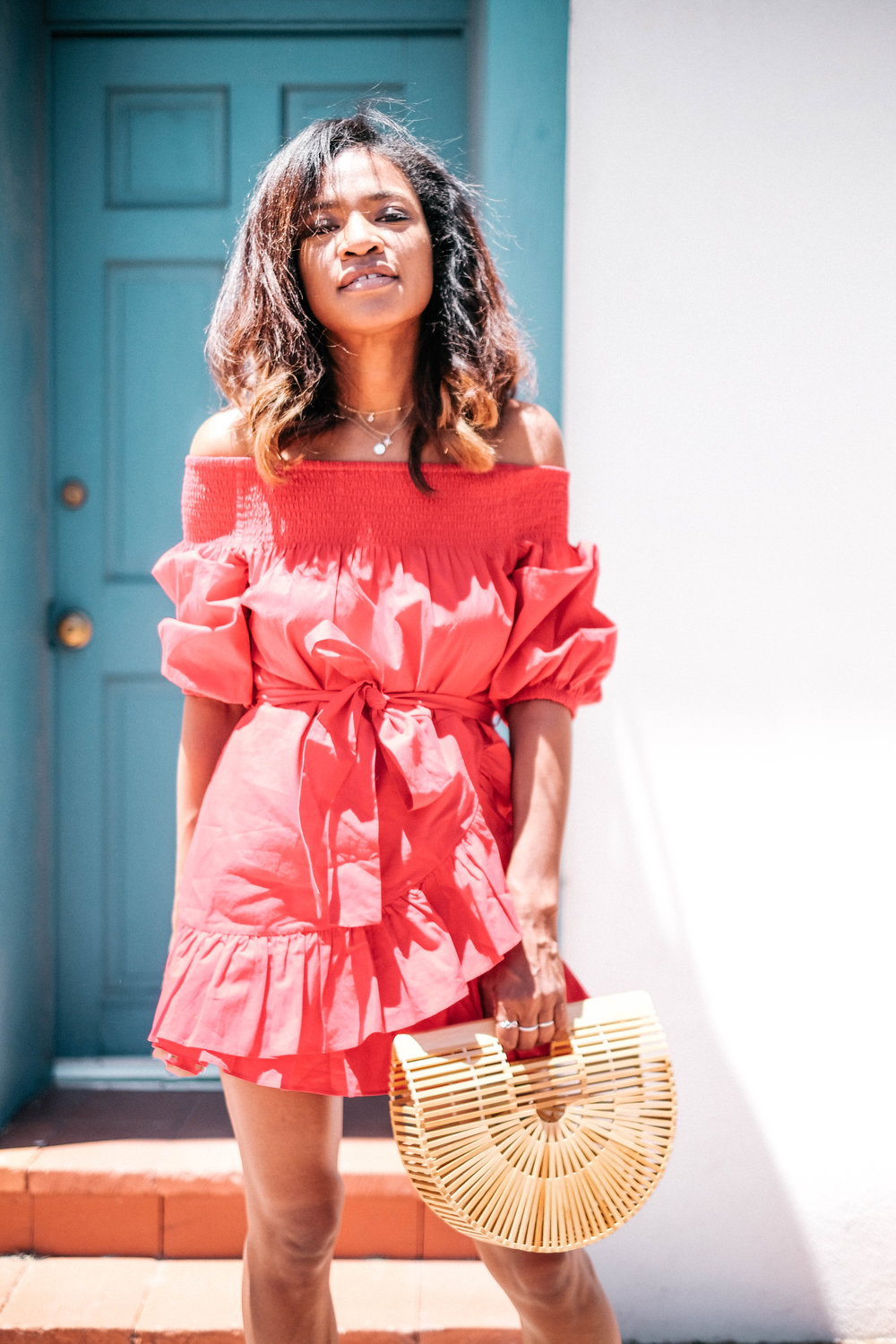 """Currently, I've been obsessed with the color red. Believe it or not, I rarely had anything red in my wardrobe up until this past year. Now, everything is red...I feel like it's a color of this summer and it goes really well as a backdrop to floral, gingham and polka dot patterns. Funny enough, I thought of Spain when I bought this Tularosa dress. I thought it was very """"Flamenco dancer-esque"""". I am so glad I bought it but it does wrinkle easily so keep that in mind. Have fun with the color red this season! It might just surprise you. *kisses* - Cristal"""