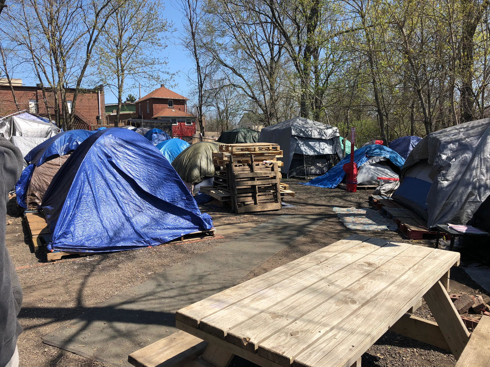 Akron's current tent city for the homeless
