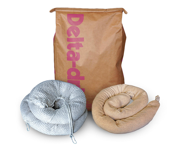 Available in 2-cubic foot bags, socks, and booms.