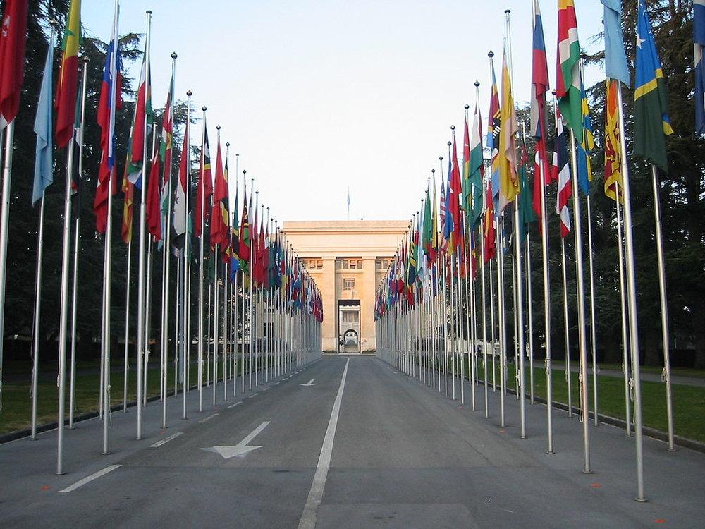 Banderas delante del edificio de Naciones Unidas, Ginebra. Foto: Yann.