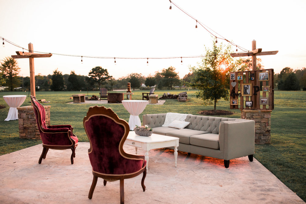 A beautiful cocktail hour lounge space! pc Twinkling Eye Photography