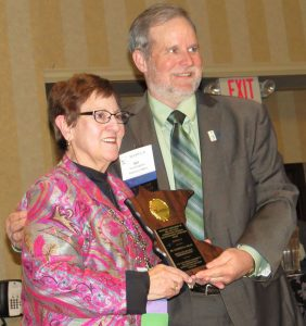 Kathryn receiving her 2015 Outstanding Supervisor Award from the Minnesota Association of Conservation Districts. (Photo by Janet Cubat Willette/AgriNews.)