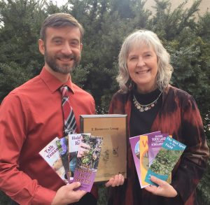 Michael Dahlstrom and Jean Eells with a sample of the award-winning publications and award plaque. These materials received a 2016 Outstanding Interpretive Print Media Award from the    Iowa Association of Naturalists    and the    Iowa Conservation Education Coalition   .