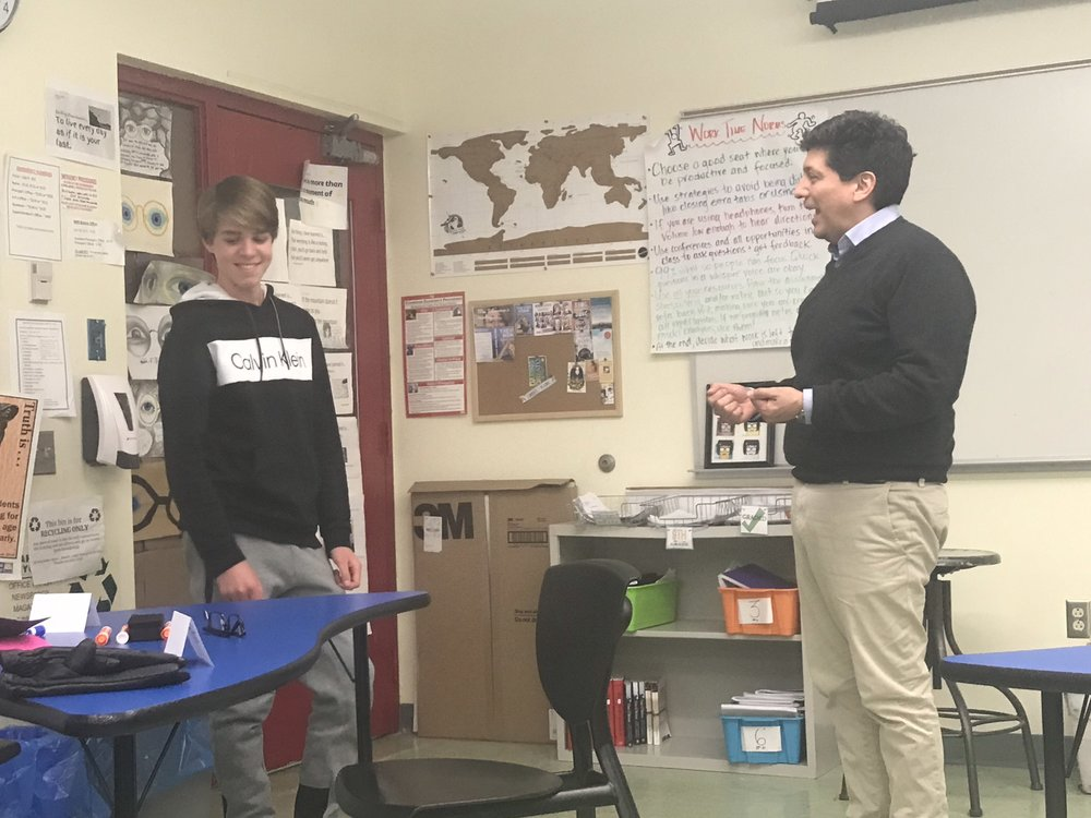 A parent and a ninth grade student role play during my March Study Skills course at LMCCE.