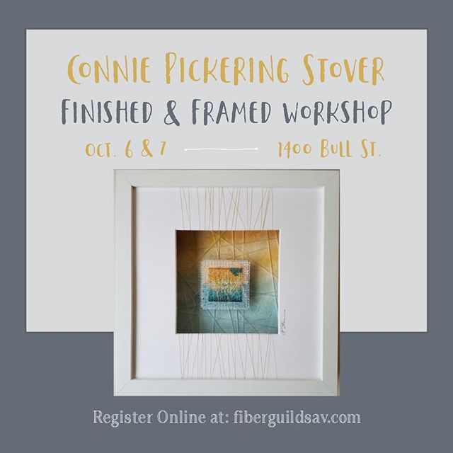 Spots are going fast for this amazing workshop! Sign up now at fiberguildsav.com to save your spot! Learn directly from Connie Pickering Stover and snag some of her amazing secrets at this special 2-Day workshop all about needlepoint. She'll walk you through painting threads, needlepoint stitching and framing your piece- it will be ready to hang by the end of the weekend! . . More info on our website. . #conniepickeringstover #needlepoint #needlepointersofinstagram #fiberart #fiberworkshop #finefiberart #fiberguildofthesavannahs #savannahfibersartist #finishedandframed #diyart #savannahga #thingstodoinsavannah #savannahfiberguild #stsimonsisland #jekyllislandart #hiltonheadart