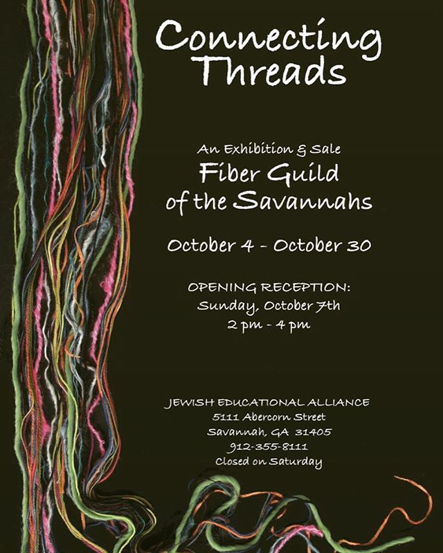 Don't forget to stop by our annual show, Connecting Threads, at the JEA on Abercorn before it comes down on Oct. 30.  There's something for everyone and a perfect stop for your own Fiber inspirations or to pick up the perfect holiday gift! . . #fibersale #fiberlove #savannahshopping #savannahgallery #jea #savannah #jewisheducationalalliance #connectingthreads #fiberguildshowandsale #thingstodoinsavannah #handmade