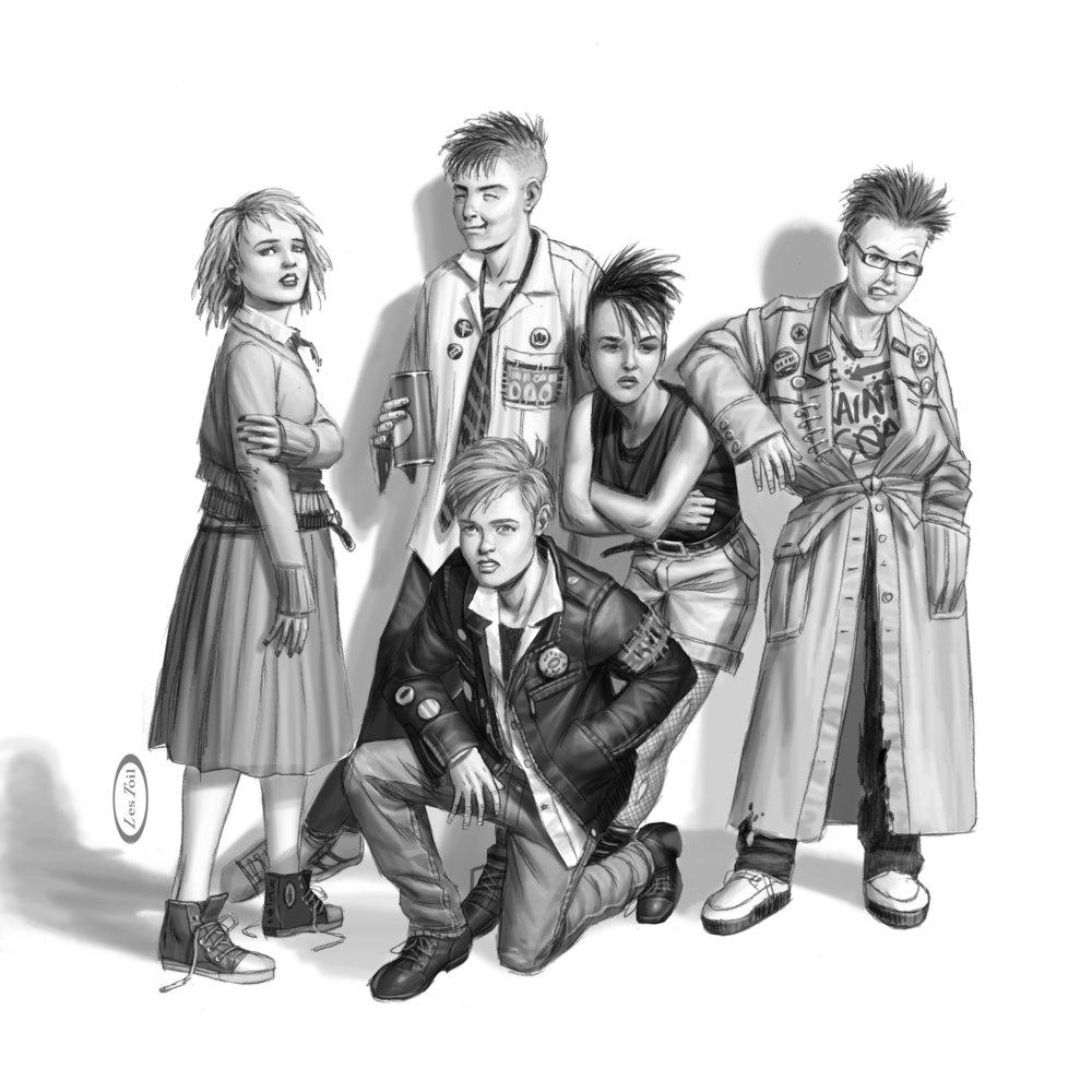 Standing (left to right): Bridge, Micah, Letty, Benny. Kneeling (front): Scott.