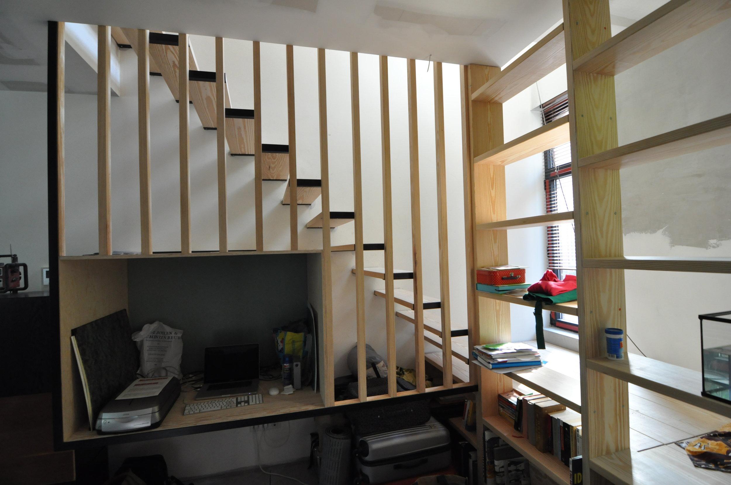Keuken Met Trap : Interieurproject met trap bureau keuken en boekenkast u2014 stulp