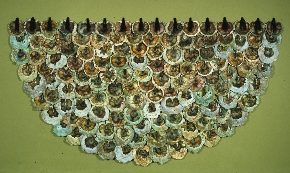 Cast Hydrostone, silk, fans, pigment (144 embedded fans), 16 feet by 8 feet