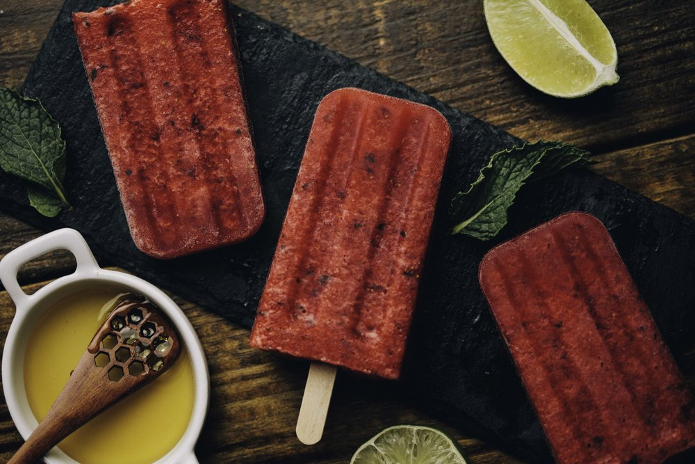 Strawberry Honey Lime Popsicles