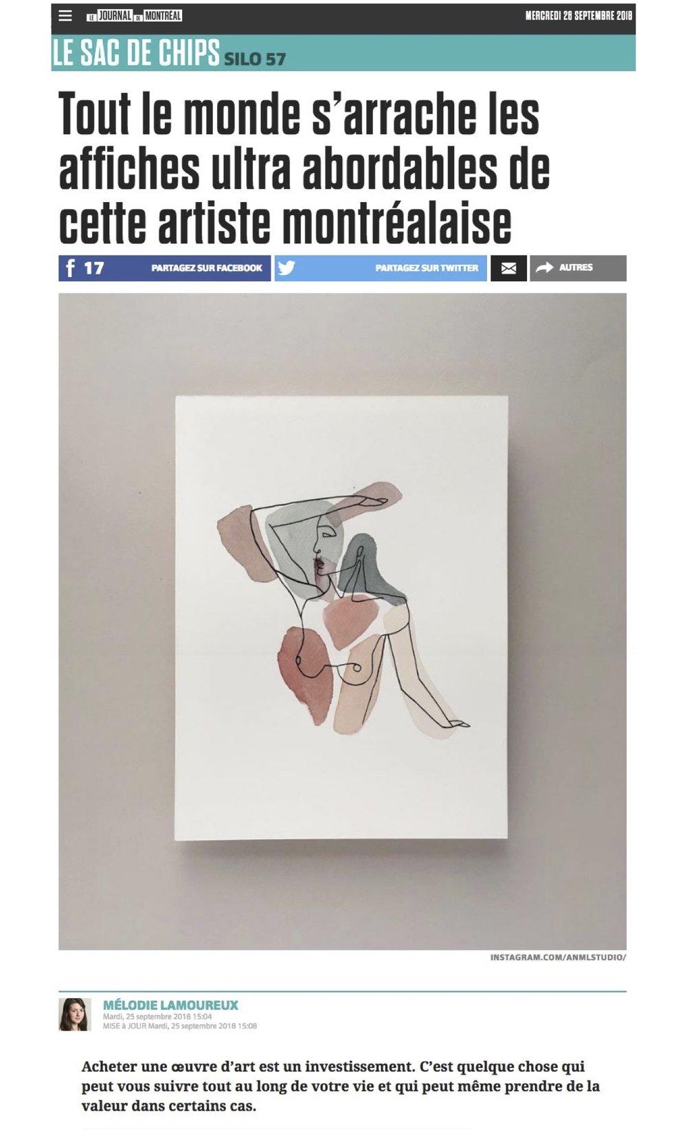 Journal de Montréal September 25th 2018 by   MÉLODIE LAMOUREUX