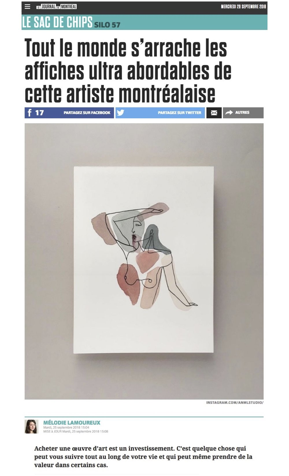 Journal de Montréal 25 September 2018 par   MÉLODIE LAMOUREUX