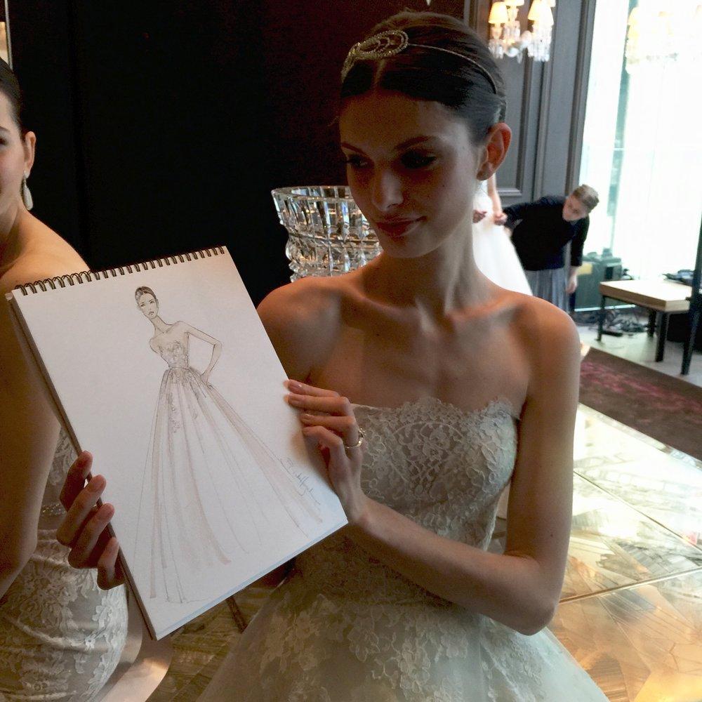 Brides Magazine | Monique Lhuillier   Live sketched Bridal Fashion Week for Brides Magazine, including Monique Lhuillier (shown here,) Marchesa & Reem Acra.