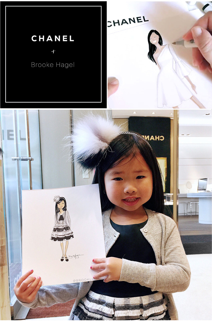 Chanel + Brooke Hagel  Recently I had the pleasure of collaborating with  Chanel , a brand that has been at the top of my fashion illustration client-wish-list for years. The Chanel team reached out to to me as they were planning something special for their Fine Jewelry VIP clients for Mother's Day. They invited top clients, along with their mothers and daughters, to view the new collection and choose favorite pieces. I then live-sketched custom fashion illustrations of them wearing their chosen Chanel pieces...