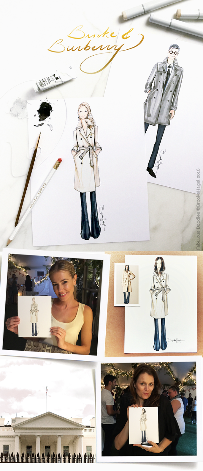 Burberry | Semi-Custom Fashion Illustrations  If you follow any of my social media you may have noticed over the past few months I've been working quite a bit with  Burberry . I wanted to share one particular event we collaborated together on here on Fabulous Doodles. A few weeks ago I live-sketched semi-custom fashion illustrations at a private party for Burberry down in Washington DC. The party was the culmination of their annual general managers conference, where Burberry employees from across both North and South America gathered. Since Burberry has such a rich history and brand identity I suggested doing something a little different for this live-sketching event. Instead of full custom illustrations of each Burberry employee in the party outfits they were wearing as I normally do, I pre-draw fashion illustration bodies of Burberry beauties and beau's in the classic Burberry trench coat. They loved the idea and its exactly what I did!...