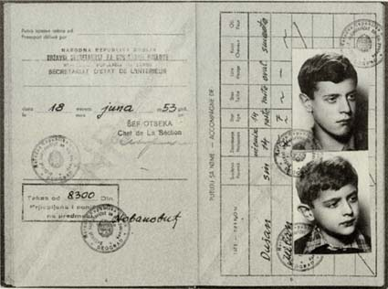 Charles Simic's Yugoslav passport.