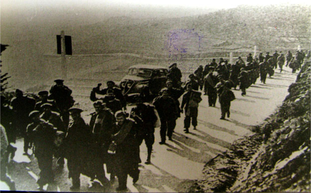 """Exiles on the road to Cerbère 1939, on the French side of the border."""