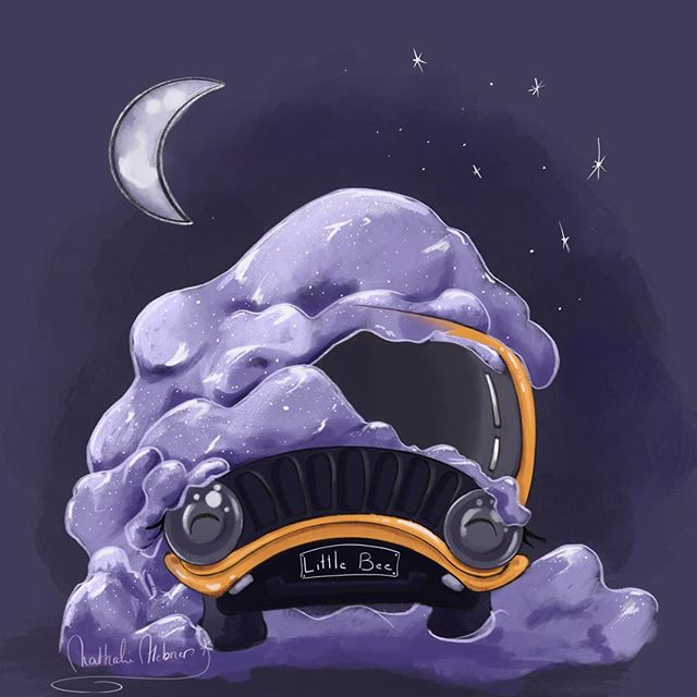 Little Bee is what I call my car, my super sidedkick. She is parked right now, ❄️☃️ and completely covered in sparkly snow. • • • • • #procreate #ilovejeeps #illo #character #characterdesigner #illustrationartists #yellow #snowday #snowmountain #nighttime #nathaliehebner #doodles #drawing #wintermood #cozyvibes
