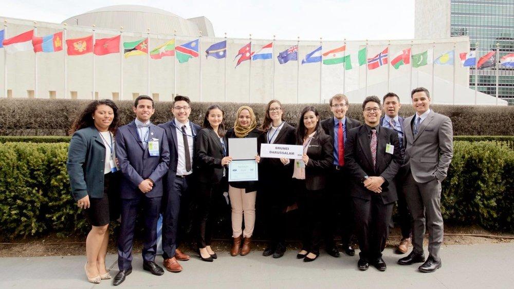 University of Bridgeport delegation at the United Nations, with Distinguished Delegation award