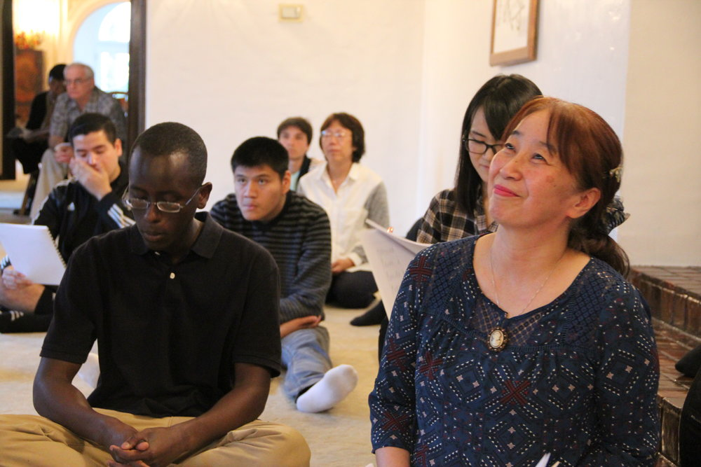 Founder of this Intercultural Exchange, Naoko Hiraki, beams with joy during the Orientation.