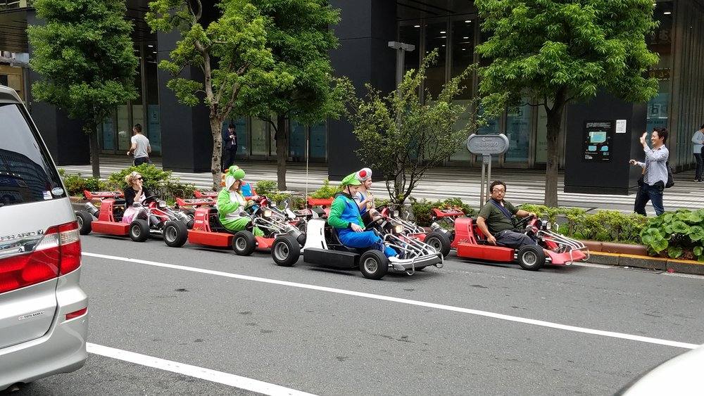 We also saw a live Mario Cart race on the road!