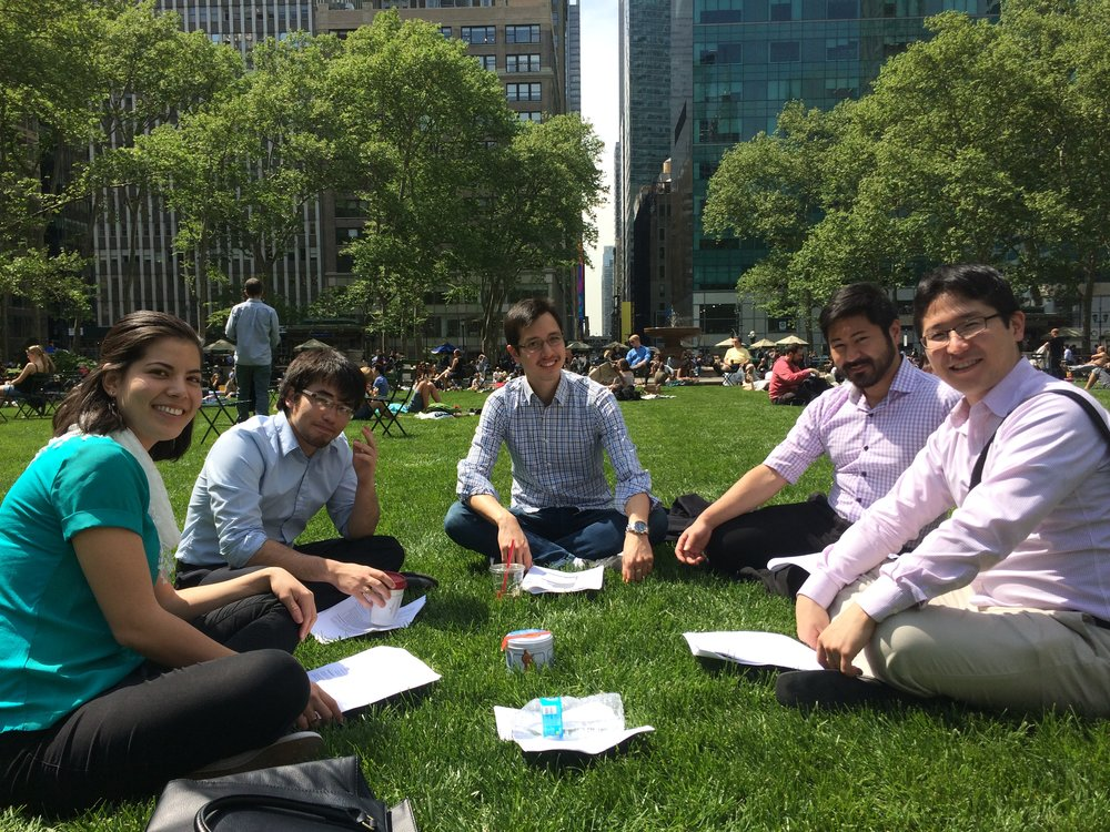 The CARP team decided to hold one of our meetings outside in Bryant Park.