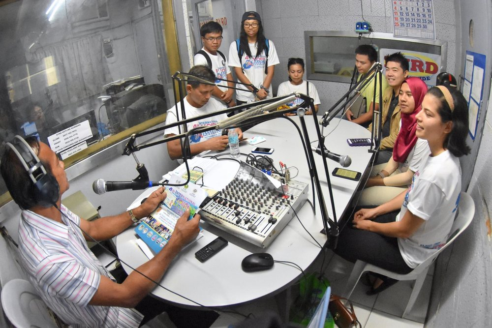 Recording the interview on the International Youth Assembly that was broadcast live on the local radio station DYRD
