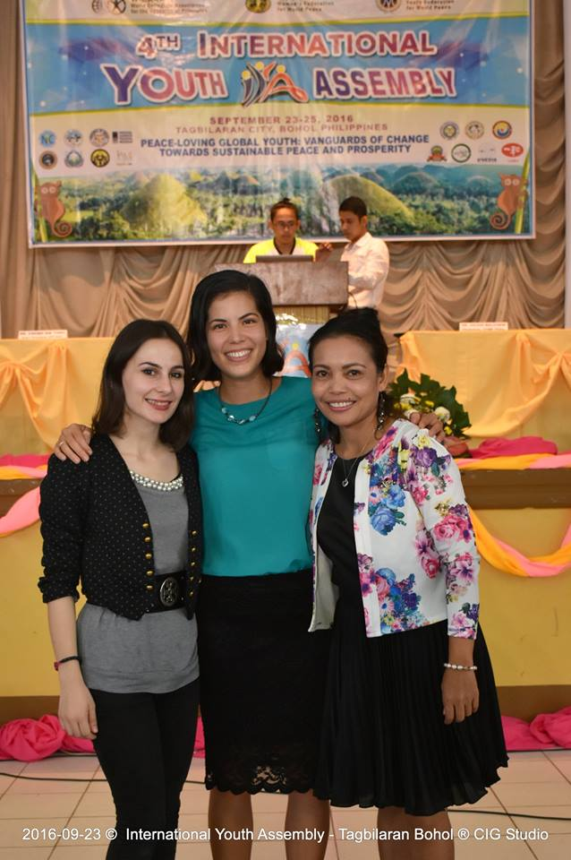 Enjoying a moment with the Special Youth Envoy Anila Mucaj (right) and WFWP President Merly Barlaan (left)