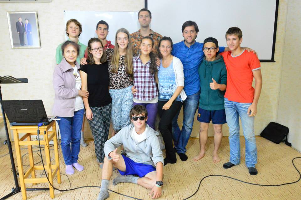 Making friendly connections with the Russian youth during a summer workshop in 2014.