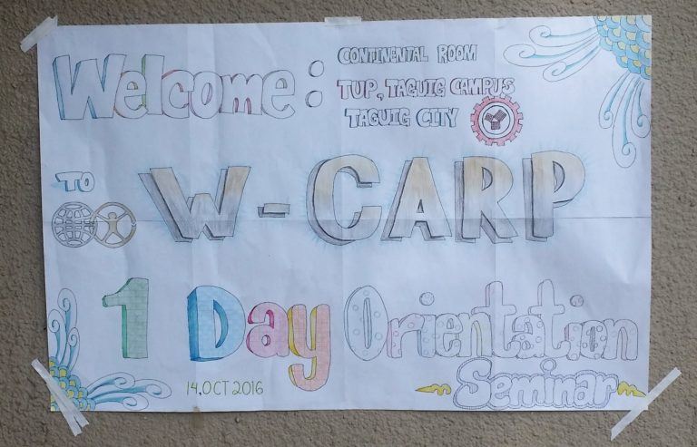 Poster welcoming students to the orientation at TUP campus