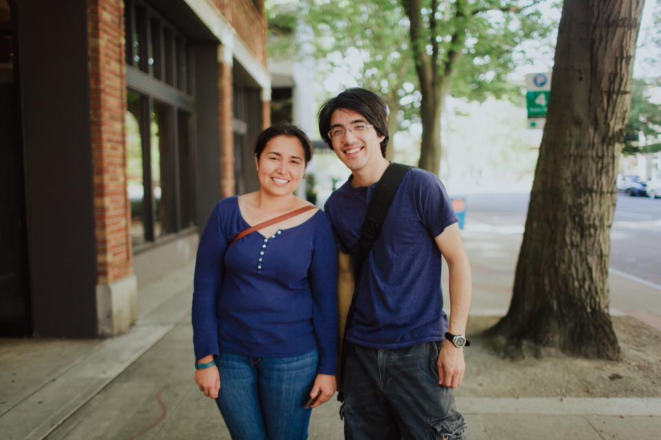 Kenei with his fiancé, Katie Howe, on the streets of Seattle in mid-Sepetember.