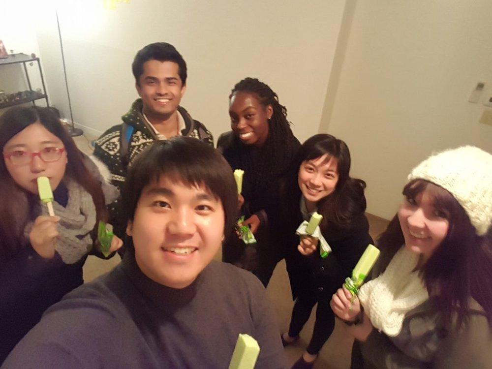 Jung and CARP Buffalo members enjoying Korean melona ice cream after their meeting.