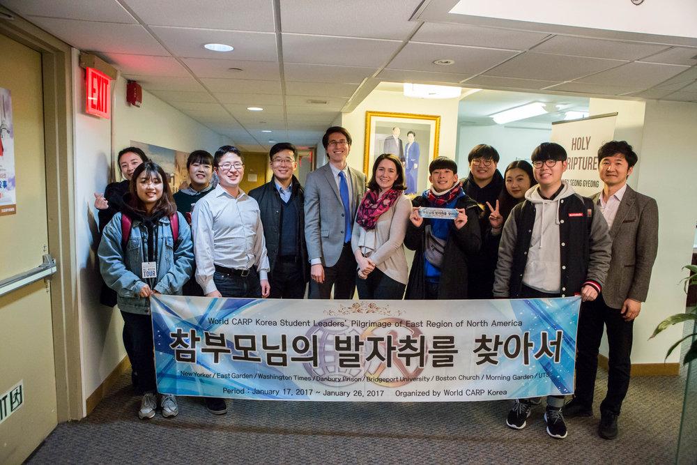 CARP America and FFWPU staff welcomes CARP Korea at the FFWPU Headquarters in Manhattan, NY.