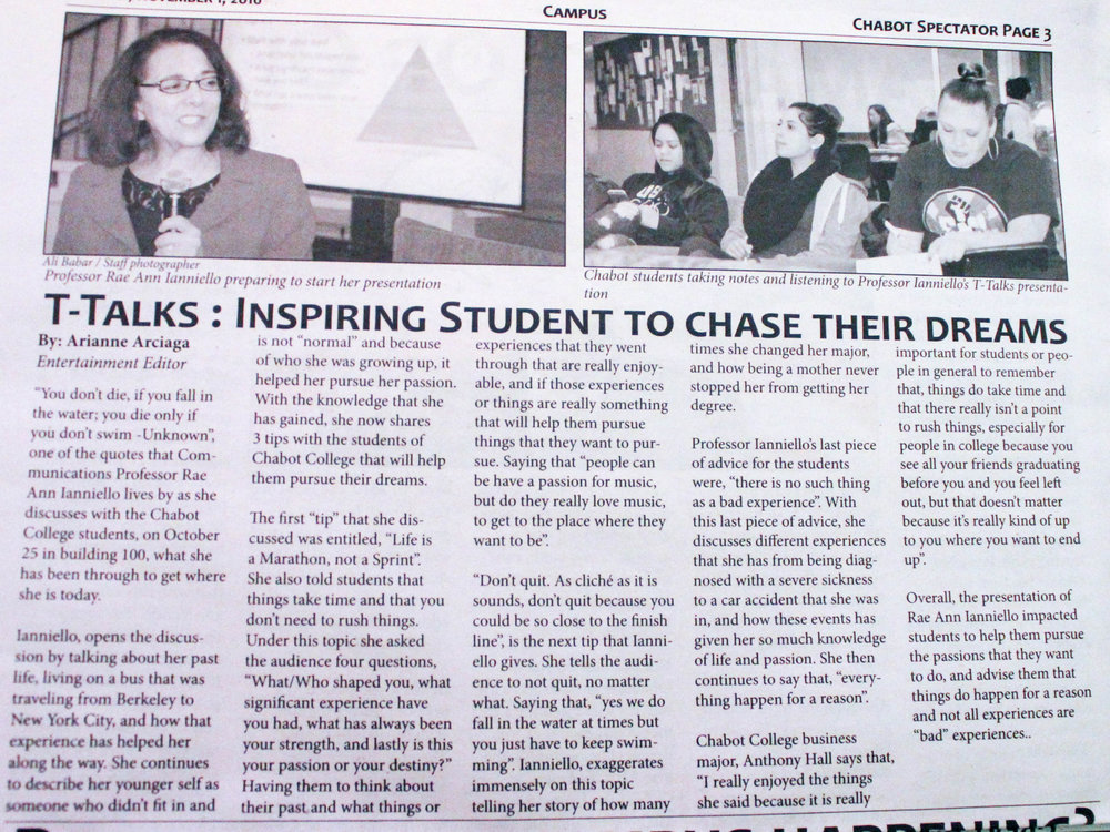 T-Talks in the Chabot Spectator campus newspaper.