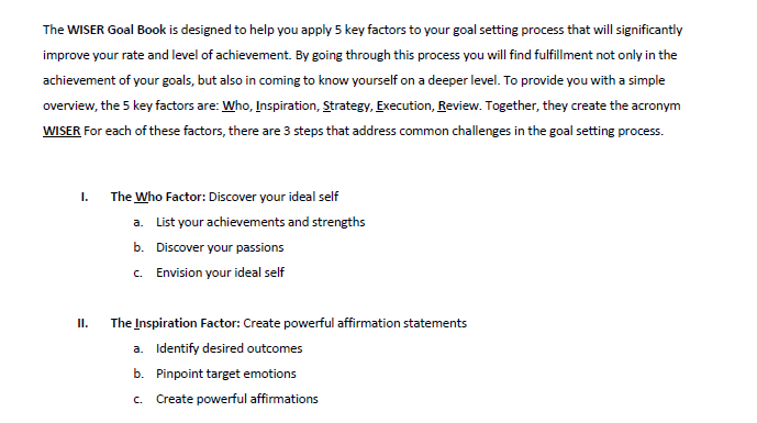 A section from the WISER Goal-Setting Worbook listing the steps for  W  and  I .*