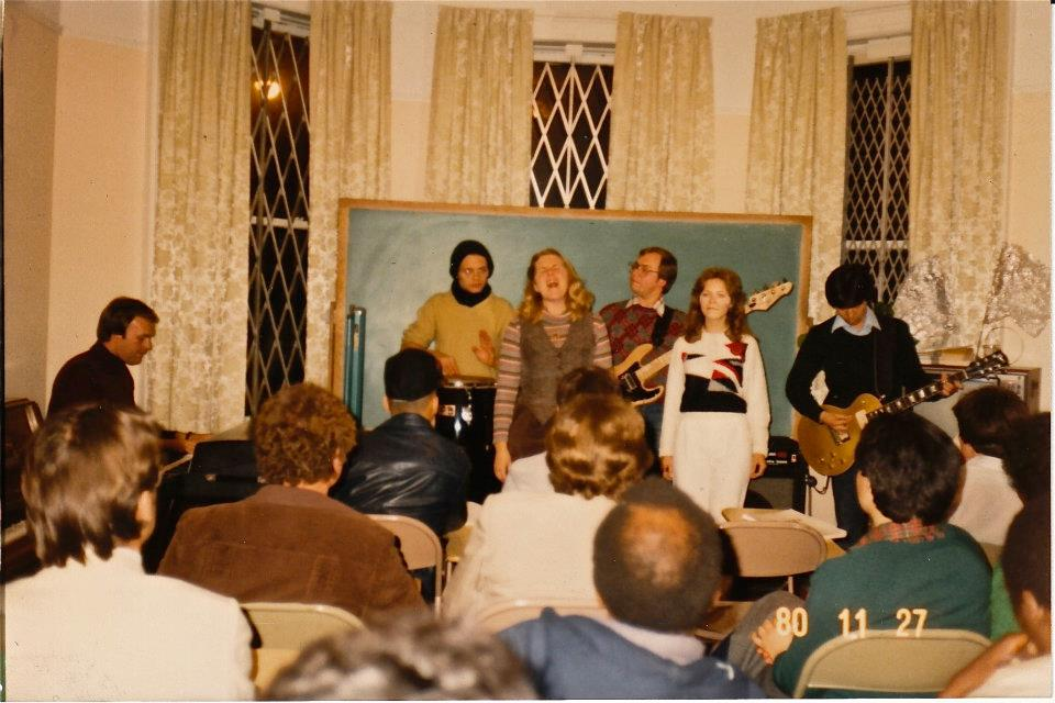 Evening evangelical program performance at the Columbia CARP center in New York, 1980.