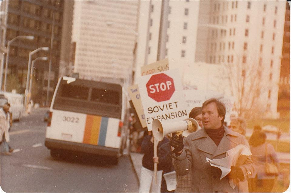 David Eaton demonstrating against communism at Georgia State University in Atlanta, 1980.