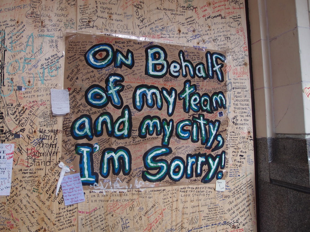 """Wall of Forgiveness"" at HBC building after the 2011 Stanley Cup Riot in Vancouver, CA."