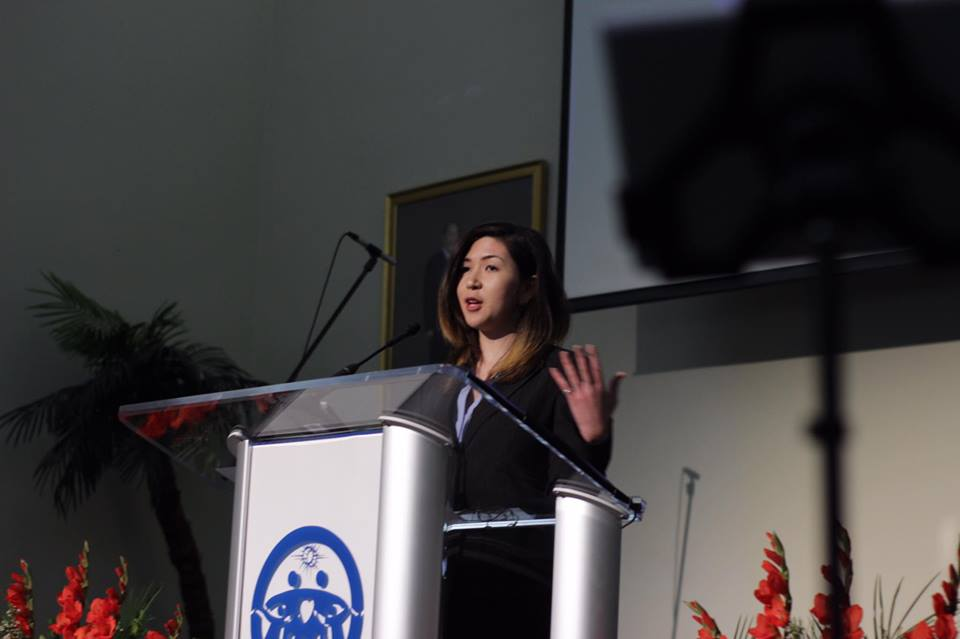 Jennifer giving a sermon at the Los Angeles Family Church in March 2017.