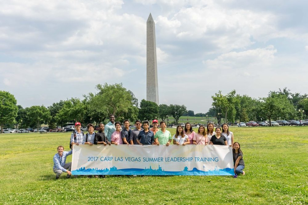 CARP Las Vegas in front of the Washington Monument where Father Moon spoke in the 1970s.