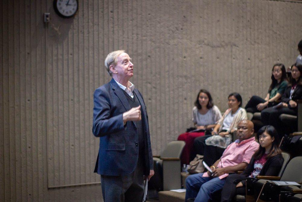 Keynote speaker Dr. Thomas Selover addresses a captive audience.