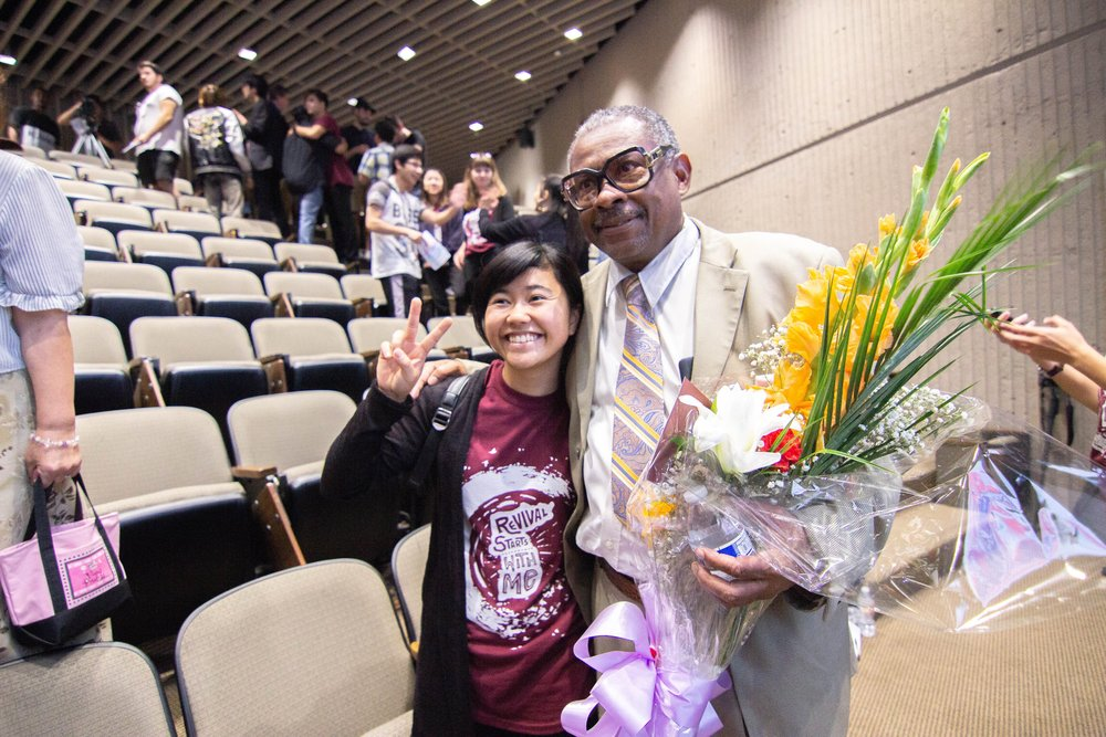 CARP PCC Vice President Mika Miyagi (left) celebrates the end of a successful rally with guest pastor, Reverend James Jones (right).