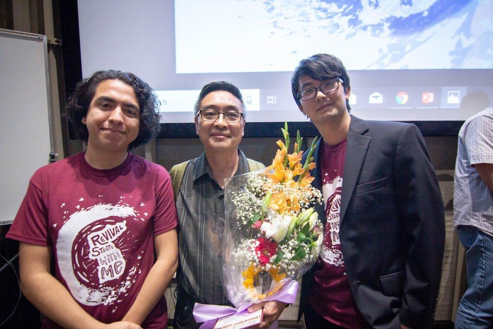 CARP ELAC officer Anthony Mendoza (left), Advisor Wooi Chin Ong (middle), and CARP President Takahito Kikuchi (right) pose for a photo.