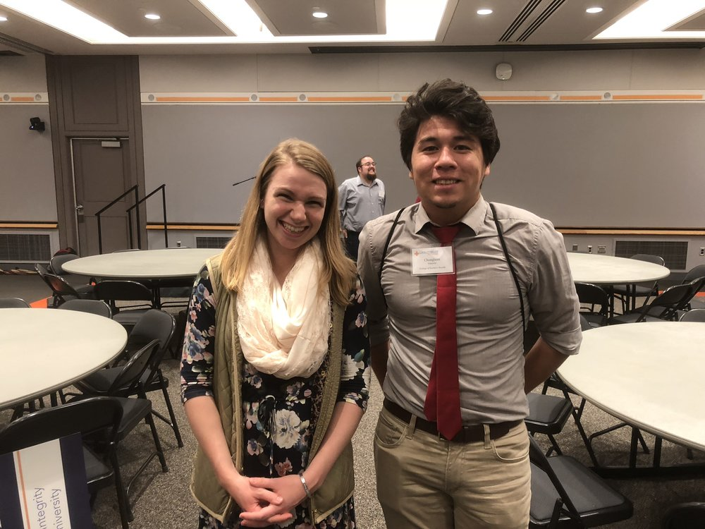 Chungbom (right) takes a picture with Brittany Basile (left), the Director of Outreach and Communications for the Love and Fidelity Network.