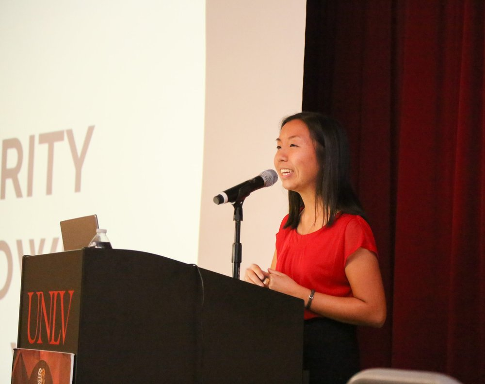CARP UNLV President, Kailey Teo, acts as MC for the event.