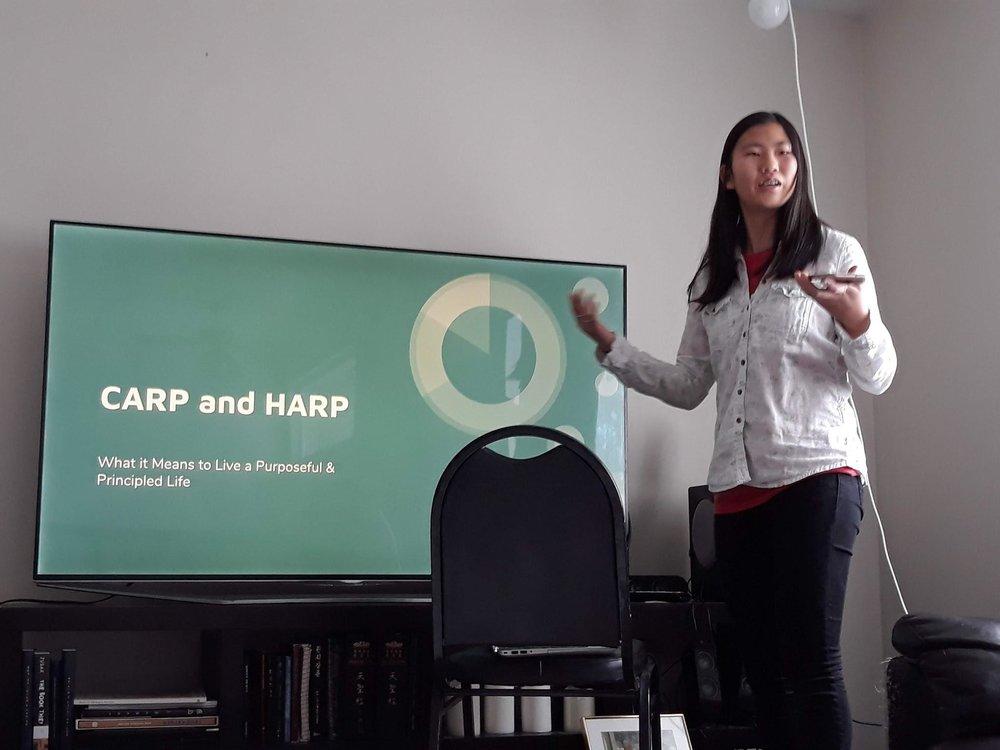 Eun-young Hwang gives a presentation on CARP.