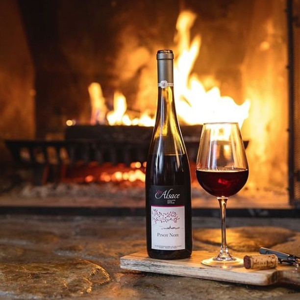 Cozy up this weekend with a glass of #Alsace Pinot Noir. These wines tend to be medium-bodied with bright fruit flavors (🍒 & 🍓) with a spicy, mineral finish.⠀ -⠀ -⠀ -⠀ -⠀ 📸@vinsalsaceqc⠀  #Alsace #DrinkAlsace #WinesofAlsace #Frenchwine #France #redwine #pinotnoir #fire #saturday #weekend #cozy #fire #hygee #welovealsace #winelover #winelovers #selfcare #nyc #repost #share #like #Alsatianwine #strawberry #berries #grapes #aromas #tastingnotes #winenerd
