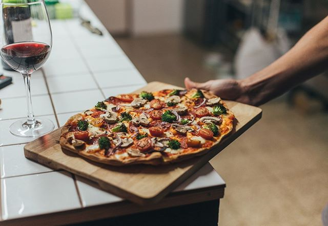 Keep things simple tonight with a veggie pizza and #Alsace. The earthy notes in an Alsace Pinot Noir can complement hearty vegetables like broccoli and mushroom. 🍕🍷⠀ -⠀ -⠀ -⠀ -⠀ #DrinkAlsace #WinesofAlsace #Frenchwine #wine #Alsatianwine #pizza #veggies #vegetables #mushroom #healthy #glutenfree #vegan #cheese #foodandwine #wineandfood #foodpairing #winepairing #nyc #nycpizza #homemadepizza #dough #crust #like #newyork #redwine #pinotnoir #yum #tasty #vegetarian