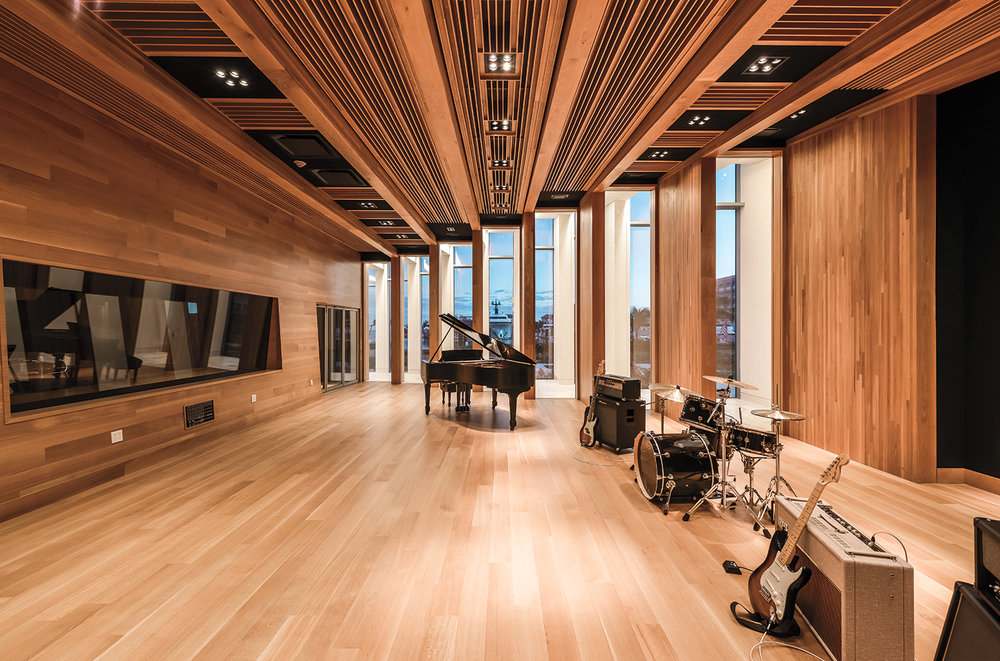 The studio's white oak-paneled live room.