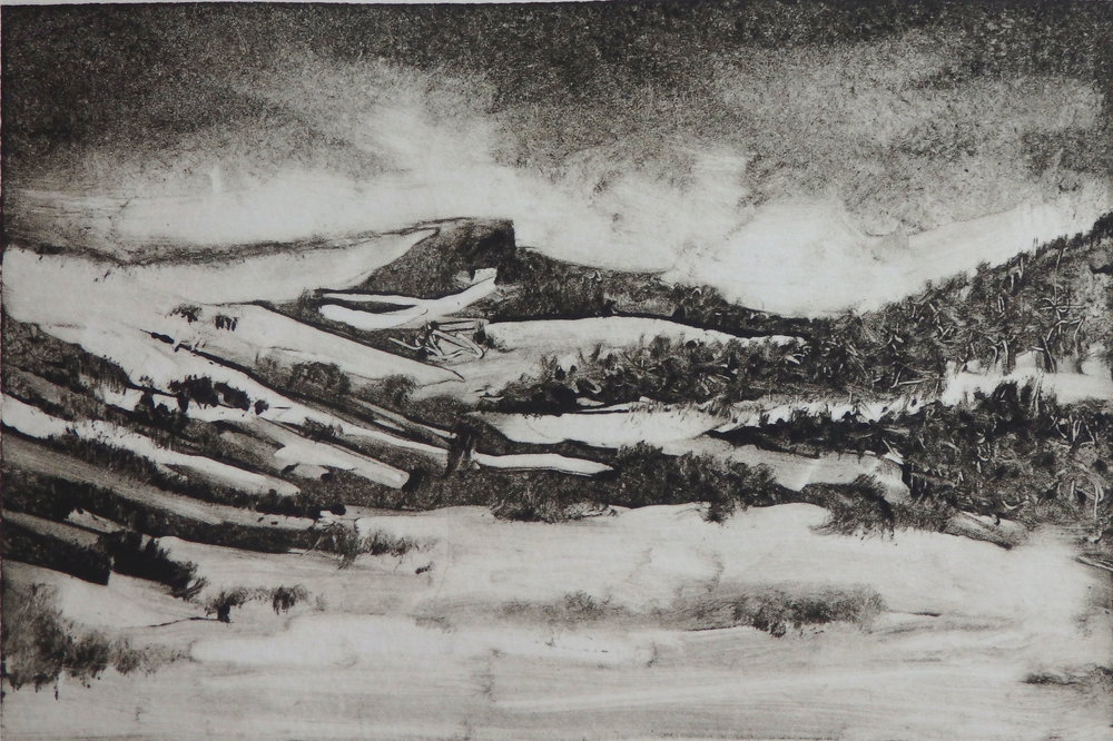 """Wyoming, First Snow"" - Monotype  -  This is the first image made from the plate."